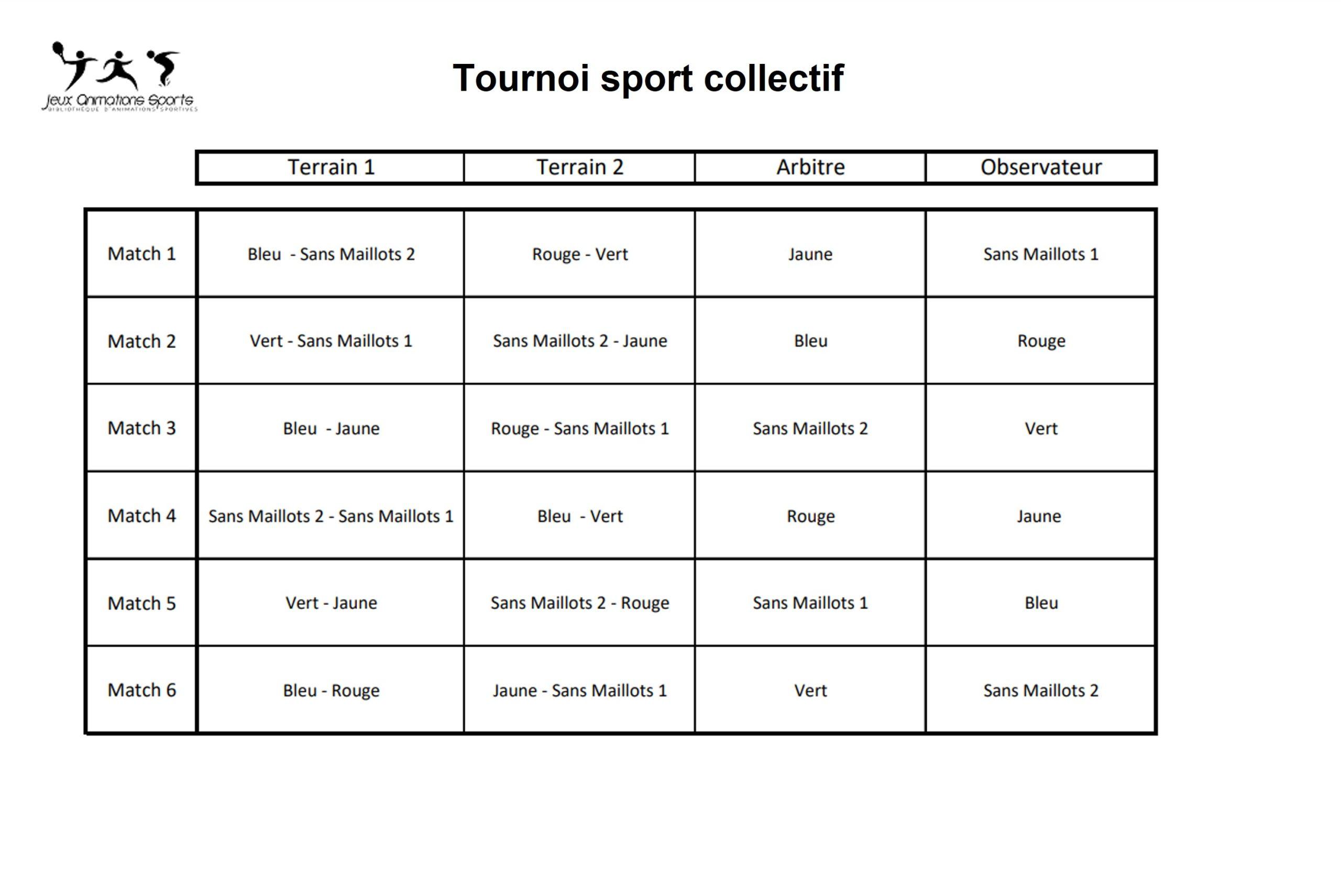 Rotation tournoi sport collectif à 6 équipes avec arbitres et observateurs