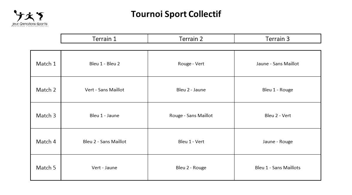 Rotation tournoi de sport collectif à 6 équipes